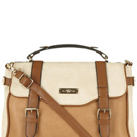 Tan And Mixed Colour Brown Satchel Bag