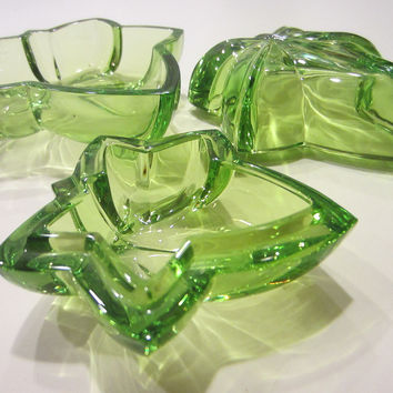 Cristal Sevres France Fleur D Elise Green Bowls Covered Box Glass Art