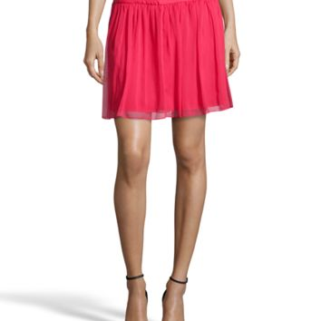 Alice & Olivia Red Raspberry Pleated Chiffon 'carly' Mini Skirt | Bluefly