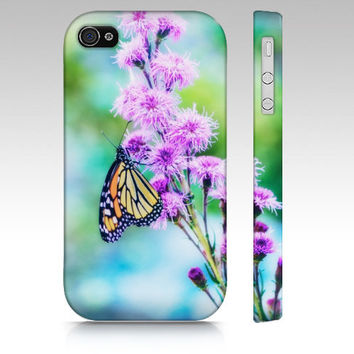 iPhone Case, iPhone 4/4S, iPhone 5, Samsung Galaxy S3, Monarch Butterfly on Flower, Nature Photography, Summer, Blue Purple Orange