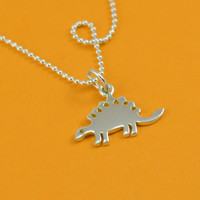Tiny Dino Sterling Silver Stegosaurus Necklace