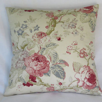 "Pink Blue Ivory Floral Pillow Cover, 17"" Square Cotton, Romantic Cottage Farmhouse Decor, Ready Ship"