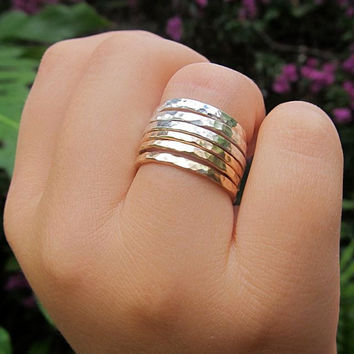 Silver Stacking Rings, 3 Hammered Sterling Silver Rings, Simple Bands, Custom Made For You