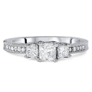 Diamond.75CT Vintage Three Stone Princess Cut Engagement Ring 14K White Gold