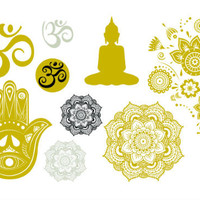 Metallic Yoga Gold and Silver Temporary Tattoo Set