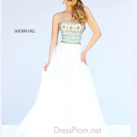 Strapless Bandeau Neckline Formal Prom Gown By Sherri Hill 11175