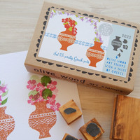 Pretty Greek Pots Olive Wood Stamp Box 6 stamps set