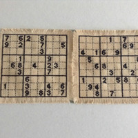 Sudoku coasters Cross stitch coasters Square fabric coasters Tea dyed coasters Drink coasters  Handmade coaster set of two Puzzle coasters
