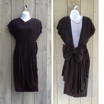 Vintage dress | 1980s Ashlee of California black backless cocktail dress with oversized bow