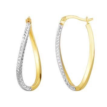 10K Yellow-White Gold 24x11x1.9mm Shiny Diamond Cut Twisted Extra Light Square Tube Oval Hoop Earring with Hinge Clasp