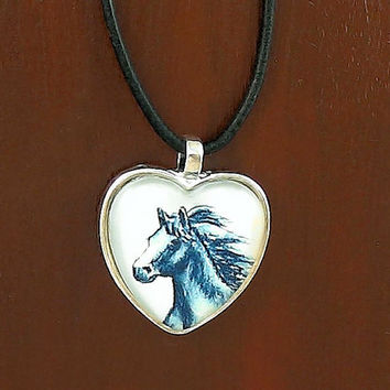 Painted Horse Heart Pendant Necklace with Black Leather Cord