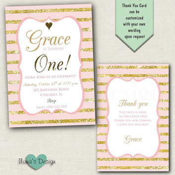 First Birthday Invitation - Pink and Gold First Birthday Invitation - 1st Birthday - Girl First Birthday - Gold Glitter Invitation