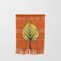 Yellow Linden Leaf On Orange Botanical Art Wall Hanging by borianagiormova