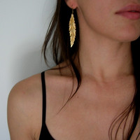 leaf - nature inspired raw vintage brass earrings
