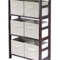 "6 Basket Storage Shelf (Walnut/Beige) (42""H x 11.25""W x 25.25""D)"