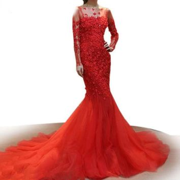 Bridal Gown Red Lace Mermaid Wedding Gown 3D Appliques Beaded Long Sleeve Wedding Dress