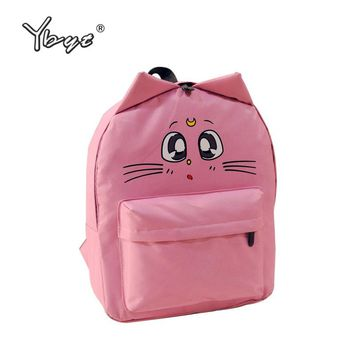 Canvas Cartoon Cat Bookbag Backpack Medium Size