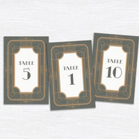 Printable Wedding Table Numbers - Deco Dream - Art Deco - Geometric Pattern - Gatsby Wedding