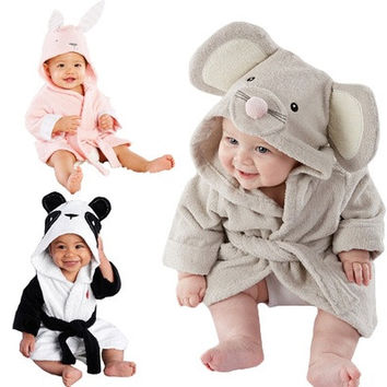 baby kids Hooded Animal modeling Cloak Baby Bathrobe Cartoon infant bath towel [9325383236]