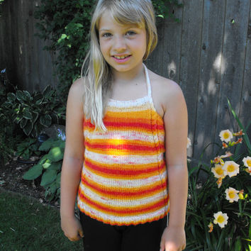 Sunshine Cable Halter - Knitting pattern, Halter top, summer top, tank top, toddler and child sizes, i-cord, tube top crop top childs halter