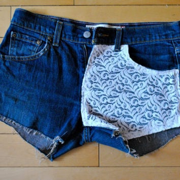 Dark Washed Levis with White Lace Overlay