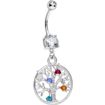 Handcrafted Clear Gem Personalized Tree of Life Dangle Belly Ring | Body Candy Body Jewelry