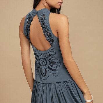 Adalia Teal Blue Embroidered Backless Dress