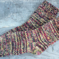 Knit wool short socks for women, hand knit socks, wool socks, Handmade Knitted Wool Socks, red