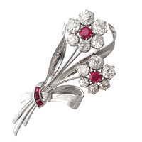 Retro Ruby Diamond Platinum Floral Spray Brooch