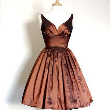 Size UK 6-16 - Copper Taffeta Prom Dress - Made by Dig For Victory