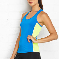 FOREVER 21 Athletic Runner's Tank Royal/Neon Yellow