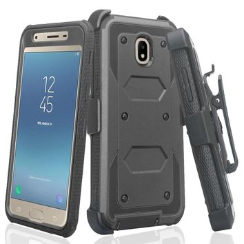 Samsung Galaxy J3 2018, J3 V 3rd Gen, J3 Orbit, Express Prime 3, SM-J337A Case, J3 Star, J3 Achieve, J3 Aura, Amp Prime 3, Triple Protection 3-1 w/ Built in Screen Protector Heavy Duty Holster Shell Combo Case - Black