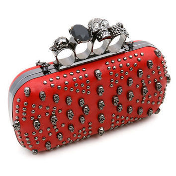 Red Skull and Stud knuckle clutch