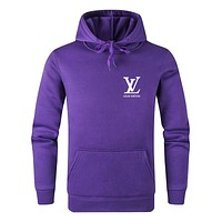 LV 2019 new casual sports men and women hooded sweater Purple