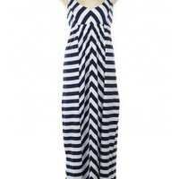 SPORTY NAUTICAL STRIPES COTTON MAXI CAMI DRESS-Maxi-maxi dresses, long dresses, ankle length dresses, floor length dresses, printed dresses, halter dresses,chiffon maxi dress,print maxi dress