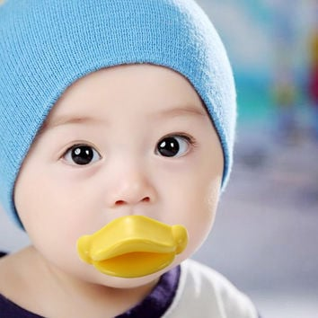 Funny Infant Pacifier Yellow Duck Mouth Big lips Baby Pacifiers
