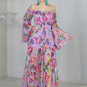 Spring Fling Floral Maxi Dress (Purple)
