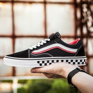 PEAPON Vans OS Black And White Checked Low Tops Flats Shoes Canvas Sneakers Sport Shoes 36-44