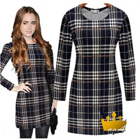 New 2016 Autumn Dress Fashion Women Elegant Dress Long Sleeve Black White Plaid Casual Dresses Women Winter Dress XQ780