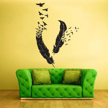 Wall Vinyl Decal Sticker Bedroom Decal Birds Feathers Plume Nib  z447