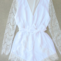 White Lace Charmer Romper [7074] - $52.00 : Feminine, Bohemian, & Vintage Inspired Clothing at Affordable Prices, deloom