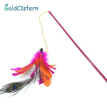 2 Colors Peacock feather Cat tease rod Cat fishing pole Cat Training Stick Pet cat playing Interactive Toys