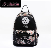 Women Leather EXO School Floral Printing Backpack Preppy Style Small Travel EXO Backpacks For Teenage Girls Bag mochila feminina