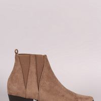 Suede Pointy Toe Western Booties