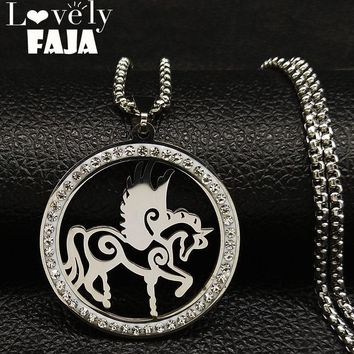 2018 Fashion Unicorn Crystal Stainless Steel Chain Necklace Women Silver Color Pendant Necklace Jewelry collares mujer N18597
