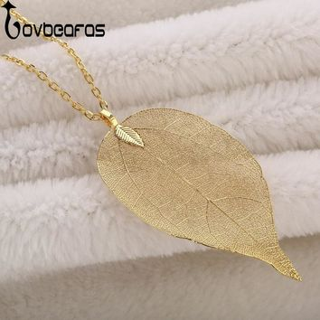 Statement Collar Necklaces & Pendants Chain Real Natural Leaf Necklace Gift