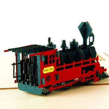 3D Pop Up Greeting Card Retro Train Birthday Easter Anniversary Thanksgiving New