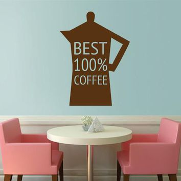 ik2359 Wall Decal Sticker Kettle best wide stained glass window Coffee Shop Restaurant