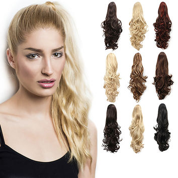 """20"""" Curly Synthetic Clip In Claw Drawstring Ponytail Hair Extension Synthetic Hairpiece with a jaw/claw clip"""