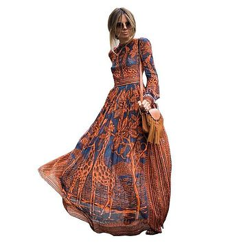 Women Vintage Full Sleeves African Giraffe Print Chiffon Maxi Dress